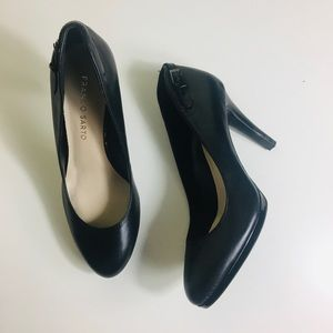 Franco Sarto leather black buckle heels size 5